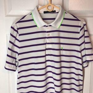 Ralph Lauren RLX Golf Shirt White Striped Size Med